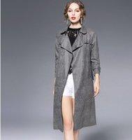 belt and suspenders - 2016 autumn and winter women s long jacket Lapel coat Suede Belt Cardigan coat Women s long coat Trench Coats