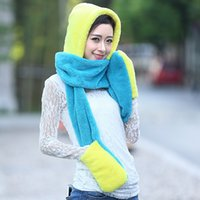 Wholesale Hot selling new arrival spell color wool scarf hat gloves sets Women thick warm plush neckerchief Christmas gifts and hats
