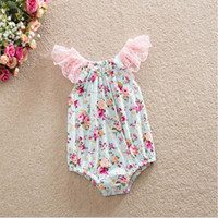 Wholesale Baby girl ruffle sleeve romper sunsuit Floral bubble romper Pattern Lace Flutter Sleeve Baby Romper Floral Toddler Romper