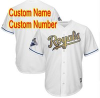 Wholesale Customized baseball jerseys Kansas City Royals Gold Program Collection men Baseball Jersey World Series Champions Patch Size M XL