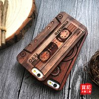 bamboo carved - Classical Retro Apple iPhone s Wood Case Natural Cover for S Plus se Genuine Walnut Bamboo Carving Designs Wood Slice Durable Plastic DHL