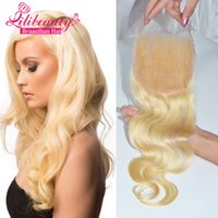 Cheap #613 Bleached Knots 4*4inches size free style 8a Unprocessed Peruvian Hair Blonde Color Lace Closure Body Wave