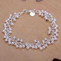 Wholesale 1x Women Sterling Silver Plated Charm Grape Beads Chain Bracelet Bangle C00354 BARD