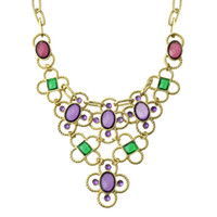 Wholesale Fashion Colorful Rhinestone Flower Statement Necklaces for Women