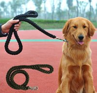 basic hand - Solid Hand Knitting Large Pet Nylon Leash Good Qualty Dog Lead Rope Pet Training Collar Leash Color Size