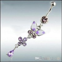 Wholesale Rhinestone Butterfly Ball Button Barbell Bar Belly Navel Ring Body Piercing D
