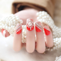 Wholesale 24pcs set Beauty Pre Design Nail Tips Acrylic Nails Full French nail tips d False Nail With Free Glue