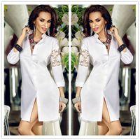 Wholesale Stylish White Shirts For Women - High grade Stylish retro classic V-neck white shirt sleeve lace stitching elegant dress DFMD470,new arrival Runway Dresses for wowen