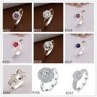 Wholesale 10 pieces mixed style women s gemstone sterling silver ring high grade fashion wedding silver ring GTR58 factory direct sale