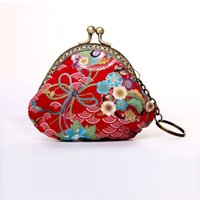 Wholesale Animal Print Vintage Coin Purses for Girls Chinese Style Oval Floral Cotton Fabric Short Lady Coin Wallets