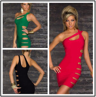 adult punk costumes - New Arrival One shoulder Hollow Out Sex Costumes Dress Bandage Bodycon Dresses Punk Black Sexy Women Novelty Club Dress