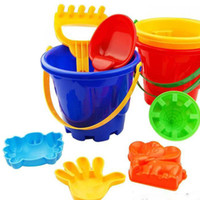 beach spades - 2016 Funny Gift Set of Winter Summer Seaside Beach Toy Child Spade Rake Bucket Kit Sand Snow Building Molds for kids