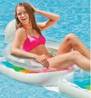 beach chairs free shipping - New Folding Water Bed Adult Tourist Beach Float Line Of Inflatable Chair Armrest Chair