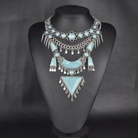 Wholesale N00446 high quality unique brand necklaces pendants Collar Vintage Turquoise Chunky Choker Statement Necklace for women accessories