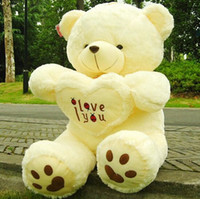 Wholesale new cm cm Stuffed Plush Toy Holding LOVE Heart Big Plush Teddy Bear Soft Gift for Valentine Day Birthday Girls Brinquedos