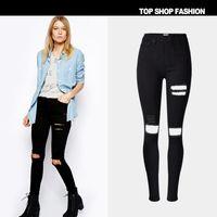 big l shot - American Apparel Europe women And The Streets Of Popular Beggar big Hole High Waist Stretch Slim Jeans Fashion Street Shoot A Big Yard