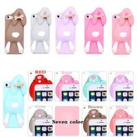 apple bunnies - 3D Cute Cartoon cases Bunny Buck teeth rabbit soft Silicone Case For iPhone Plus S S Rabbit Cute Silicone case Cover