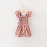 Wholesale New Girls Toddler Jumpsuit Short Summer Playsuit Soft retro lace Clothing One piece Y girls summer set