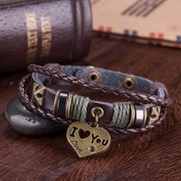 Wholesale Retro Personalized Braided Adjustable Leather Bracelets Antique Bronze Couple Heart Infinity DIY Charm Rope Bracelets Bangle CM