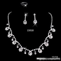 Wholesale 2016 New CHeapSilver plated Holy White Rhinestone Crystal Flower Earring Set Necklace Set Bridal Jewelry