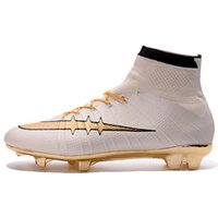 Wholesale Kids Original New White Gold Soccer Cleats Mercurial Superfly FG Top Football Boots High Ankle Superfly CR7 Soccer Shoes Outdoor