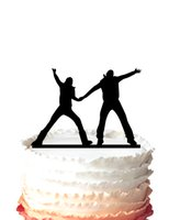 basketball party games - wedding cake topper Two men handing in hand and shout quot come on quot watching the basketball game silhouette