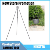 backpacking cooking pots - Outdoor Camping Tripod Picnic BBQ Cooking Tripod Portable Hanging Pot Campfire Grill Stand Camp Stainless Steel Hanger