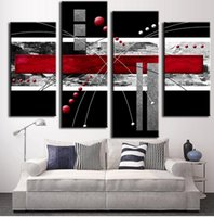 abstract line painting - Unframed set Abstract Wall Art Painting Modern Black Background Colorful Red Graphics Lines Canvas Printed Pictures For Home Decor Col