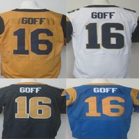 Wholesale Los Angeles Rams Jared Goff Jerseys Sports Jerseys Color white blue yellow Stitched Jerseys