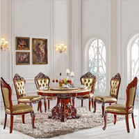 Wholesale Antique Style Italian Dining Table Solid Wood Italy Style Luxury Dining Table Set with chairs pfy2001