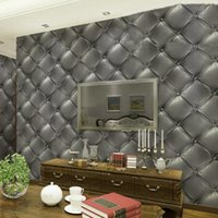 Wholesale 3D Fashion Creative Warmth Of The Luxurious Skin Of Vinyl Imitation Leather Effect Of Gray Wallpaper