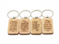 Wholesale 200X Wooden Key Chain Rectangle Blank name keychains Free Engraving key ring KW01C