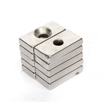 Wholesale 10pcs N35 Strong Block Cuboid Permanent Neodymium Magnets rare earth magnets x10x4mm with a Hole for DIY