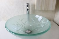Wholesale White Tree Leprechaun Round Basin Tempered Glass Vessel Sink With Faucet Set N