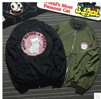 animal print cake - Sell like hot cakes Men And Women Brand Clothing SMC0345 Ripndip Middle Finger Cat Print Mens Jacket Thin MA1 Bomber Jacket