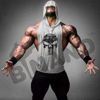 Wholesale 2016 NEW Brand Men s Skull Printed Sleeveless Hooded Vest Golds Gym Bodybuilding Stringer muscle Hoodies For Sport Men Tank Tops