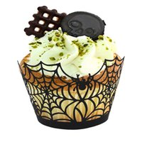 Wholesale Halloween Decoration Halloween Spiderweb Witch Castle Laser Cut Cupcake Wrappers Liners Party Decorations Party