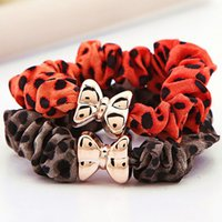 band ornaments - Hair Rubber Bands Manufacturers Selling Leopard Ring Fashion Tousheng Europe Bow Ring Hair Ornaments Small Gift