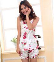 Wholesale Women Sexy Lingerie Hot Strap Silk Lace Flower Pyjamas Sleepwear Shirts Shorts Underwear Nightwear Set