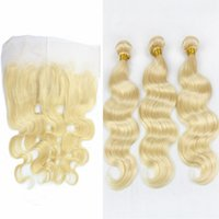 Cheap 9A Virgin Malaysian Blonde Hair Weaves With Lace Frontal Closure 13x4 Body Wave #613 Bleach Blonde Virgin Human Hair Bundles With Frontals