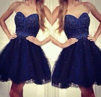Wholesale 2016 Cheap Navy Blue Homecoming Dress Occasion Dress A Line Sequins Sweetheart Tulle Short Cocktail Party Prom Gowns