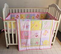 Wholesale Pieces Set Baby Bedding Set Newborn Crib Butterfly flower Nursery Crib Bumper Quilt Fitted Sheet Dust Ruffle