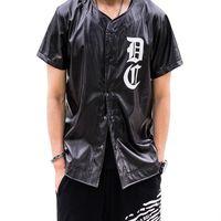 baseball tshirt - Hip Hop PU Leather Men s T shirts Harajuku Palace Baseball Jersey Tshirt Men Yeezus Black Funny T Shirts Homme