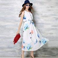 Wholesale New Arrival Floral Printed O neck Sleevelss White Long Dress Elastic Waist Women Summer Casual Elegant Chiffon Dress