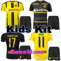 Wholesale 1617 best quality Dortmund Kids Jersey REUS PULISIC DEMBELE AUBAMEYANG M GOTZE RUGBY JERSEYS HOME AWAY KITS