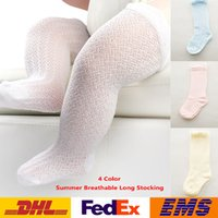 Wholesale DHL Newborn Infant Kids Baby Girls Cotton Knee High Long Socks Summer Tights Stockings XMAS Gifts WX S14