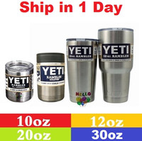 Wholesale DHL oz oz oz oz YETI Rambler Tumbler Cup Purple Pink Blue Light Blue Orange Light Green Stainless Steel Tumbler Mug