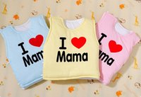 Wholesale ewborns vest open buckle I love my mother children cotton quilted vest cartoon baby clothes cotton suit months