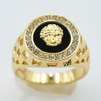 Wholesale 18 K Gold Set Auger Lion Head of Kings Ring Couple Ring