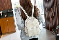 bag of white feathers - New Fashion Women Korean version of the trend school backpack Feather backpack Genuine Leather rivet backpack satchel